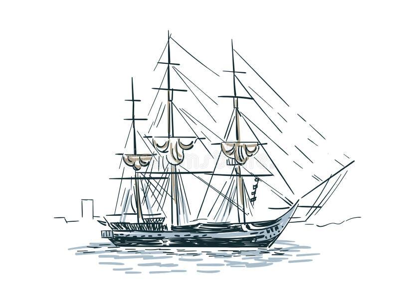 Geïsoleerde illustratie van de de lijnkunst van de schip de vectorschets vector illustratie