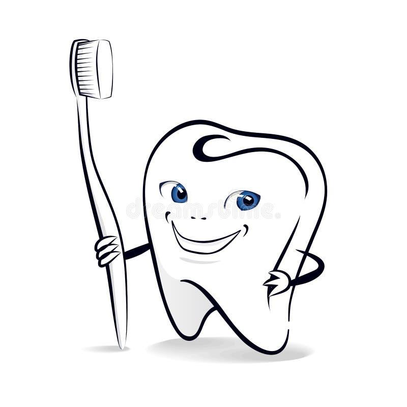 Geïsoleerde illustratie van het glimlachen van tand met tandenborstel royalty-vrije illustratie