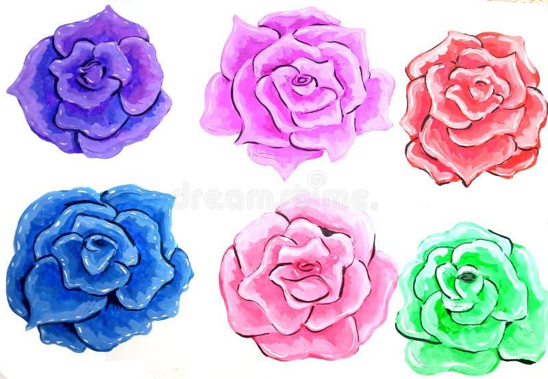 Geïsoleerde illustratie van zes verschillende die kleurenrozen door guashe wordt gemaakt vector illustratie