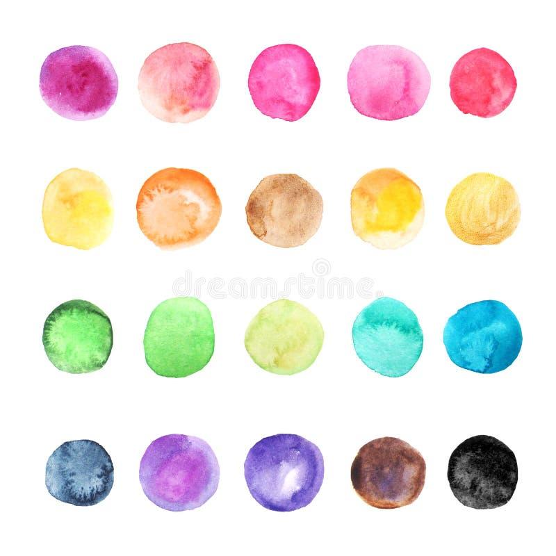 Geïsoleerde inzameling van waterverf de kleurrijke punten royalty-vrije illustratie