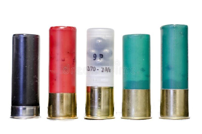 Geïsoleerde jachtgeweershells stock foto's