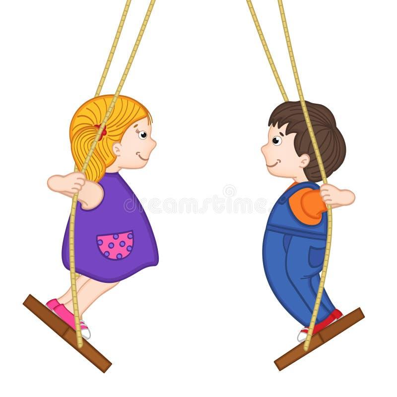 Geïsoleerde jongen en een meisje die zich op een schommeling bevinden royalty-vrije illustratie