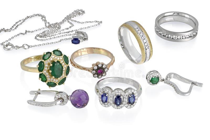 Geïsoleerde juwelengroep royalty-vrije stock afbeelding