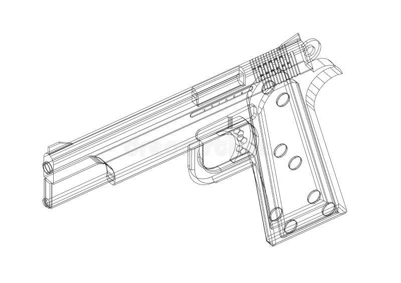 Geïsoleerde kanon 3D blauwdruk - vector illustratie