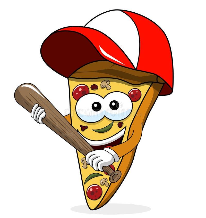 Geïsoleerde knuppel van het het beeldverhaal de grappige honkbal van de pizzaplak stock illustratie