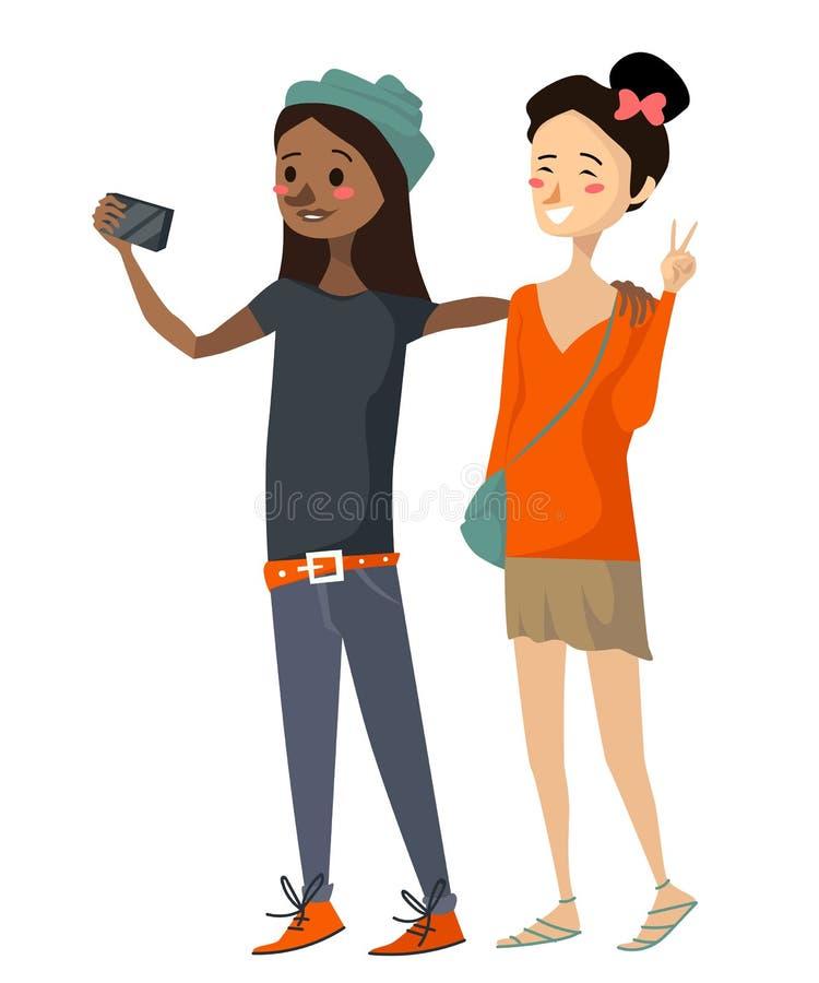 Geïsoleerde leuke diverse meisjes die een selfie nemen een Spaans zwart meisje die toevallige kleding, riem en hoed, holding drag royalty-vrije illustratie