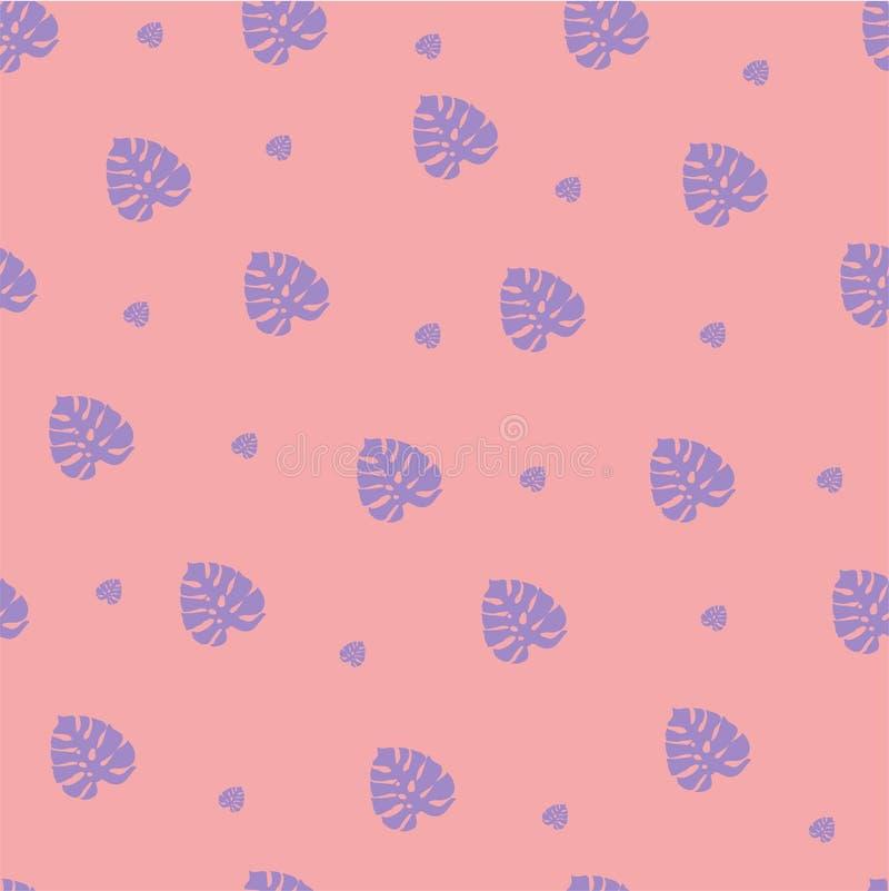 Geïsoleerde leuke palmbloemen op een roze achtergrond stock illustratie