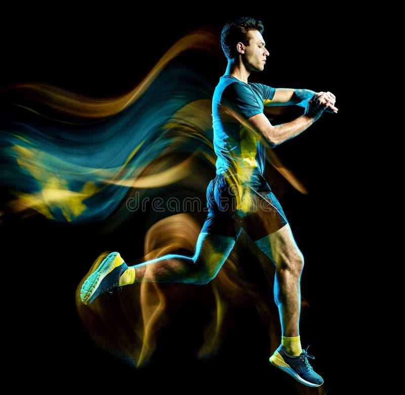 Geïsoleerde licht die van de agent het lopende jogger jogging mens zwarte achtergrond schilderen stock afbeelding