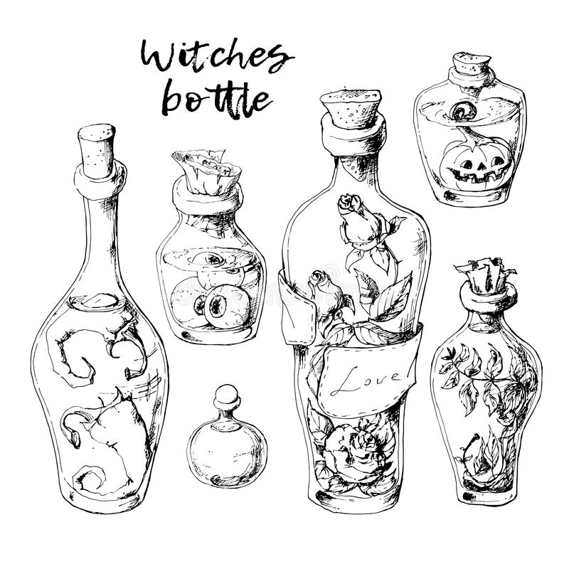 Geïsoleerde magische die flessenkruiken met vloeibare drankjes voor transformaties worden geplaatst royalty-vrije illustratie