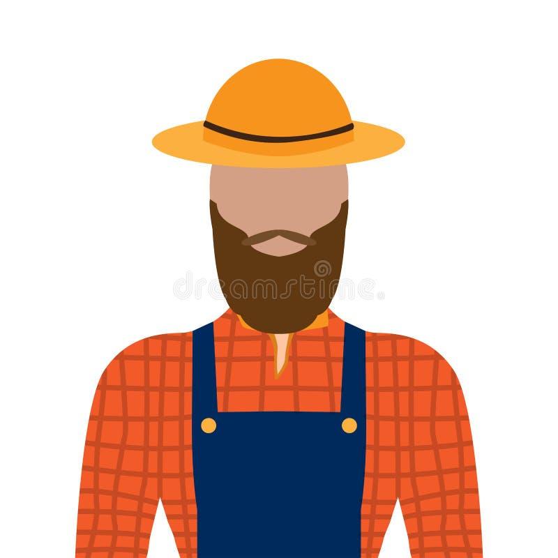 Geïsoleerde mannelijke landbouwer royalty-vrije illustratie