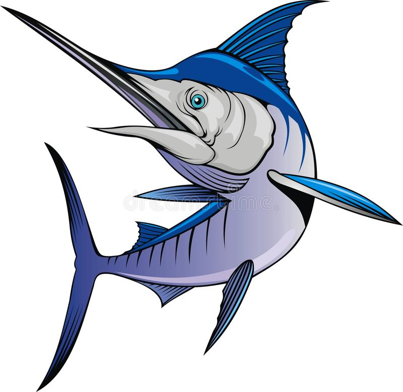 Geïsoleerde marlijnvissen royalty-vrije illustratie