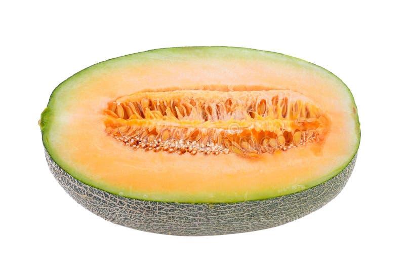 Geïsoleerde meloenplakken stock foto's