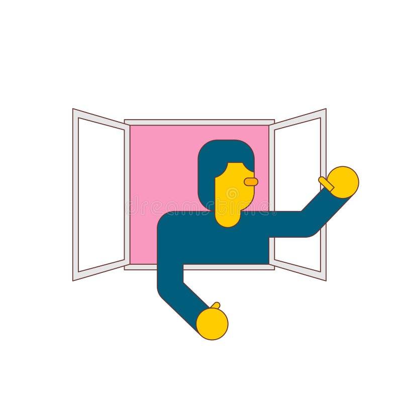 Geïsoleerde mens in venster Kerelgordijnstof die zijn wapens golven Vector illustratie vector illustratie