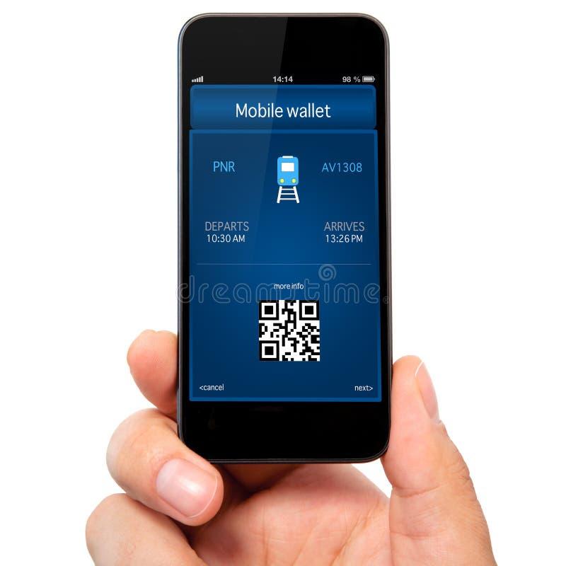 Geïsoleerde mensenhand die de telefoon met een mobiele portefeuille en een tra houden stock afbeeldingen