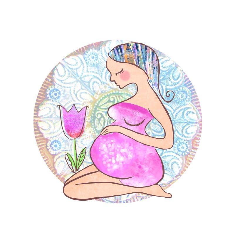 Geïsoleerde mooie zwangere vrouw en tulpenbloem De gelukkige kaart van de moedersdag met zwangere vrouw stock illustratie