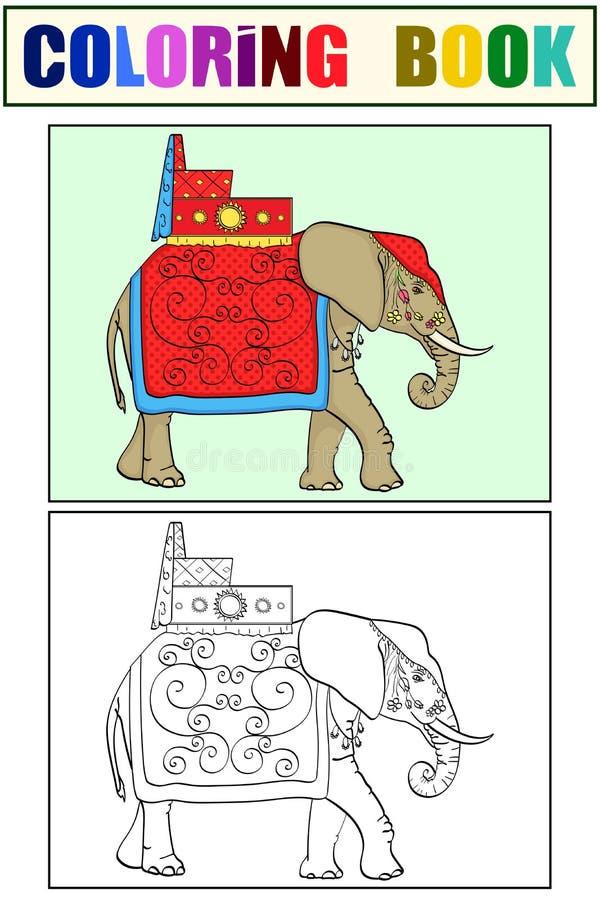 Geïsoleerde objecten kleuring en kleuring, zwarte lijnen, witte achtergrond, Olifant in India, een heilig dier, decoratie royalty-vrije illustratie
