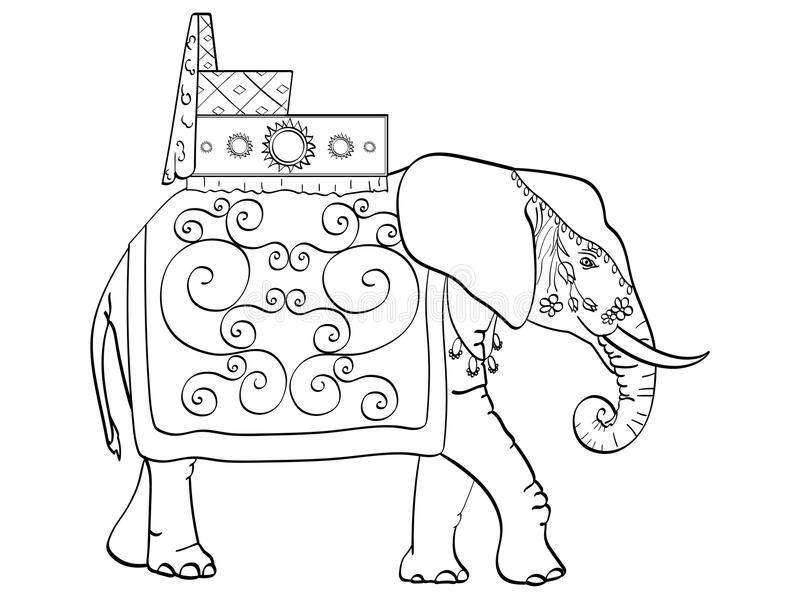Geïsoleerde objecten kleuring, zwarte lijnen, witte achtergrond, Olifant in India, een heilig dier, decoratie voor een vakantie stock illustratie