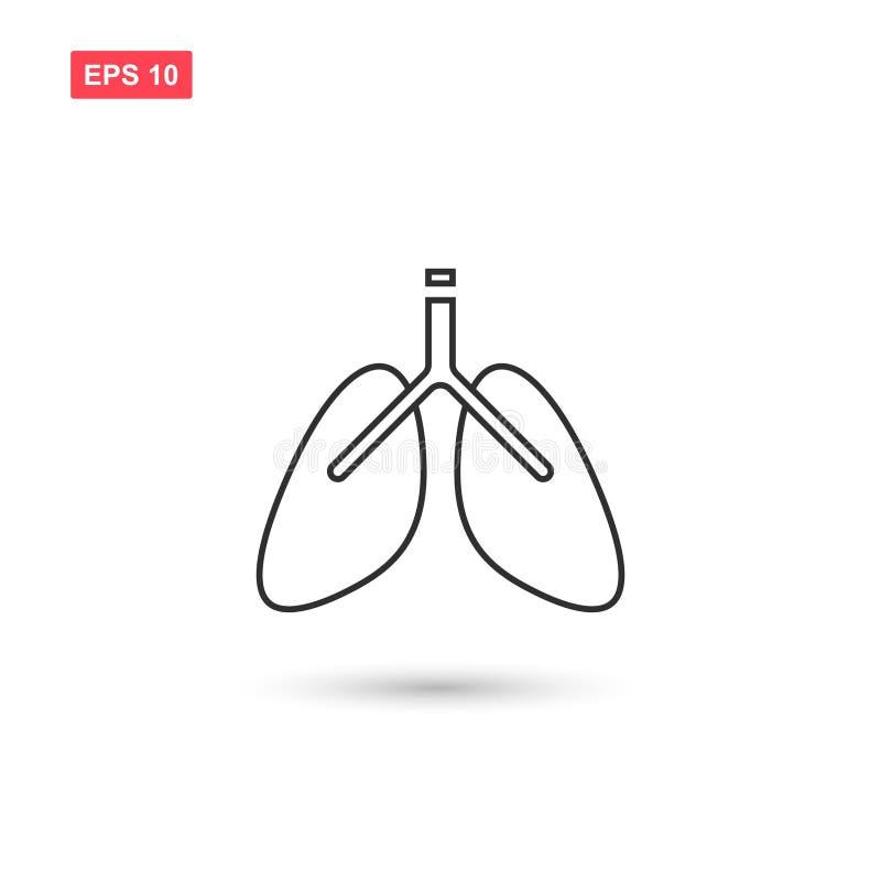 Geïsoleerde ontwerp van het longen het vectorpictogram vector illustratie