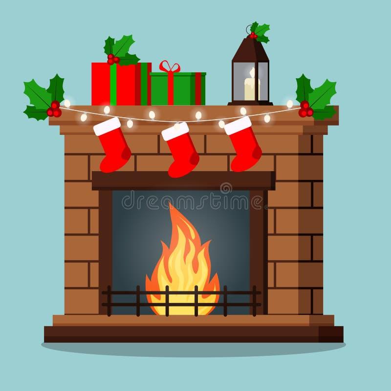 Geïsoleerde open haard verfraaide Kerstmisgiften, maretak, slinger, sokken stock illustratie