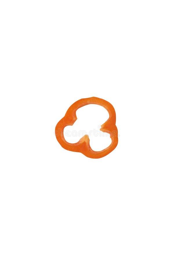 geïsoleerde oranje gesneden peper royalty-vrije stock foto
