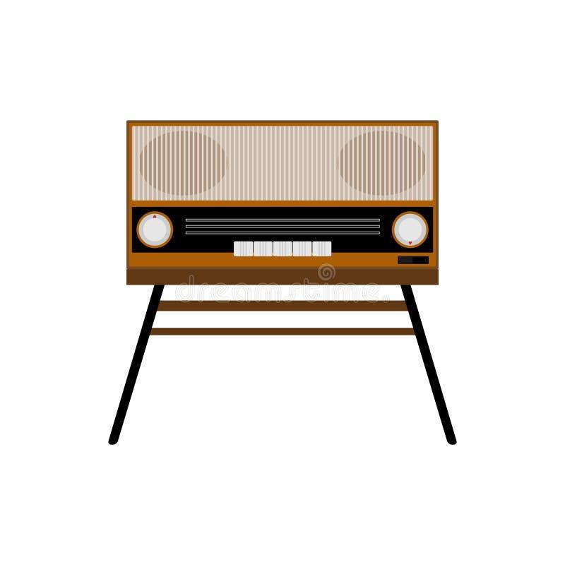 Geïsoleerde oude radio Retro elektronika Vlakke vectorillustratie stock illustratie