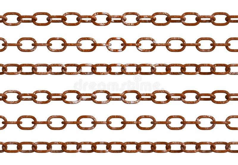 Geïsoleerde oude roestige kettingen royalty-vrije illustratie