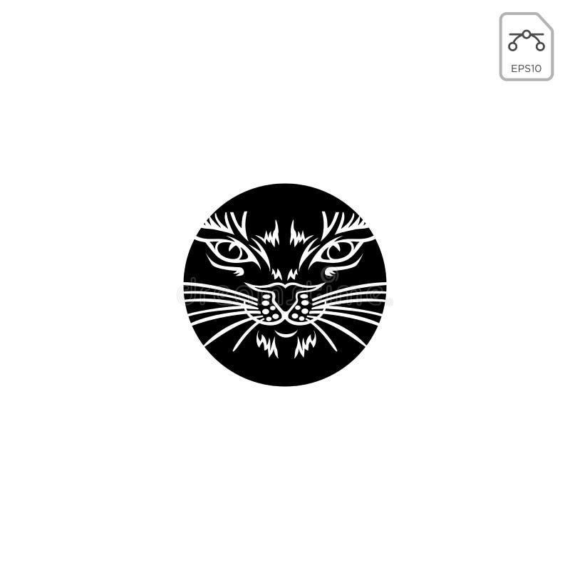 geïsoleerde pictogram van de het ontwerp het abstracte zwarte kleur van het kattenembleem vector illustratie