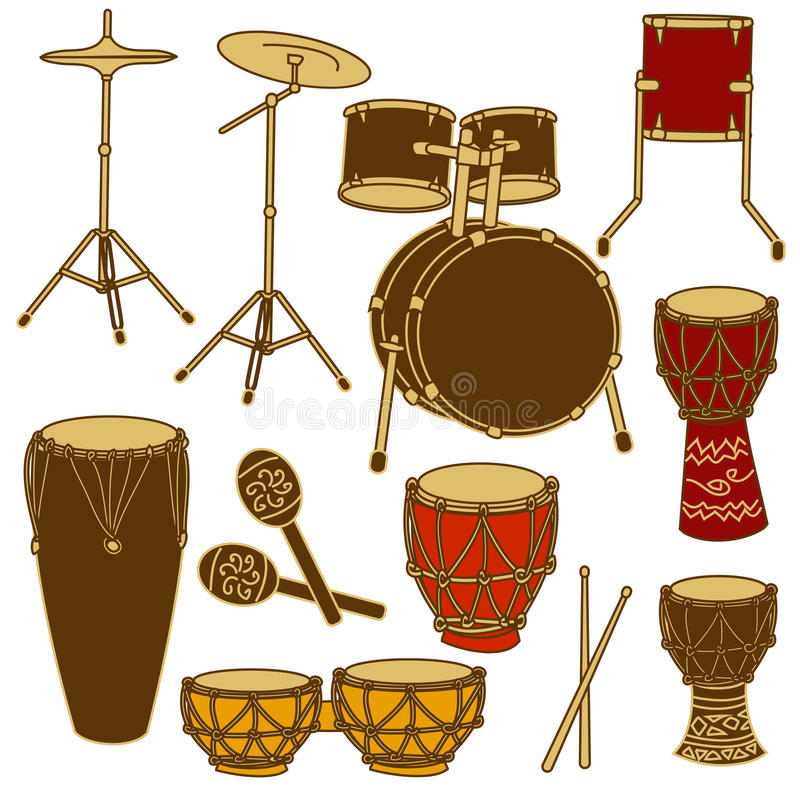 Geïsoleerde pictogrammen van trommeluitrusting en percussie vector illustratie