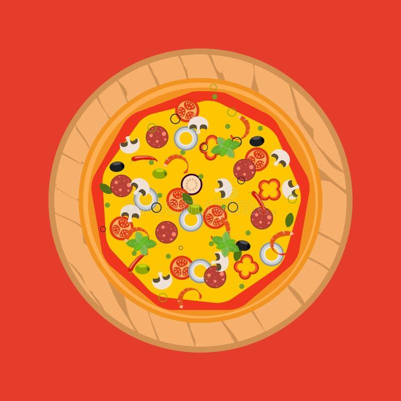 Geïsoleerde pizza, traditionele ingrediënten voor de pizza Vector stock illustratie