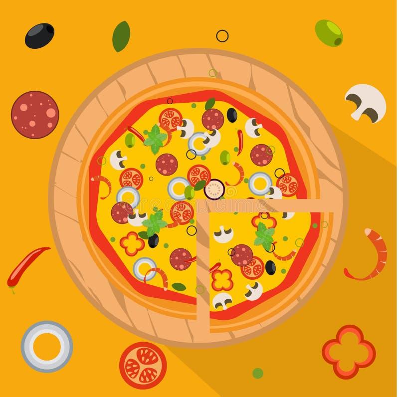Geïsoleerde pizza, traditionele ingrediënten voor de pizza Vector royalty-vrije illustratie