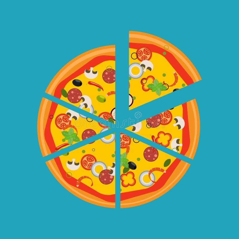 Geïsoleerde pizza, traditionele ingrediënten voor de pizza Vector vector illustratie