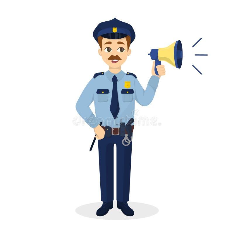 Geïsoleerde politieagent met megafoon vector illustratie