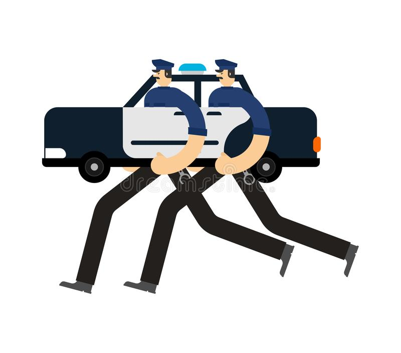 Geïsoleerde politiewagenpatrouille Politieman in auto Cop patrouillerende straat stock illustratie