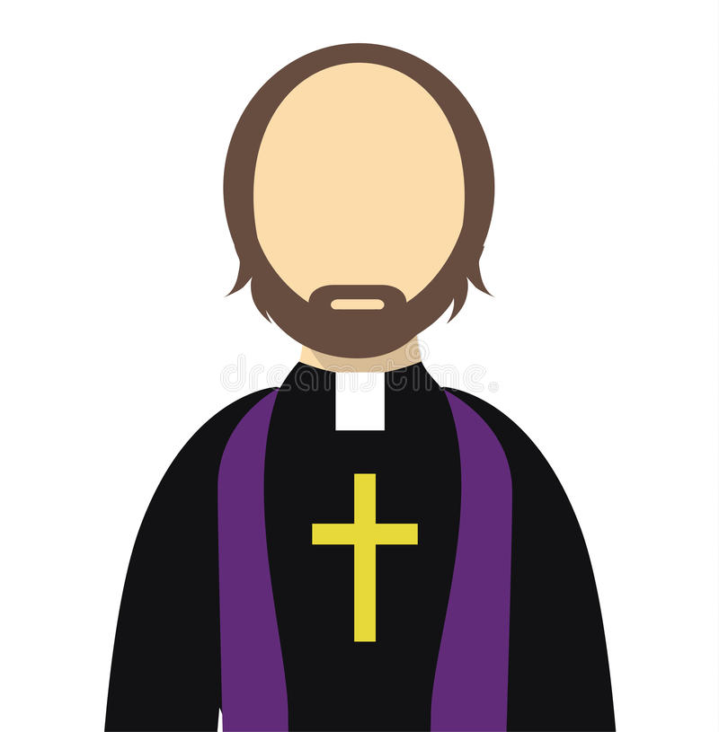 Geïsoleerde priester/Reverend Vlakke Vector - Priester vlak pictogram met een kruis stock illustratie