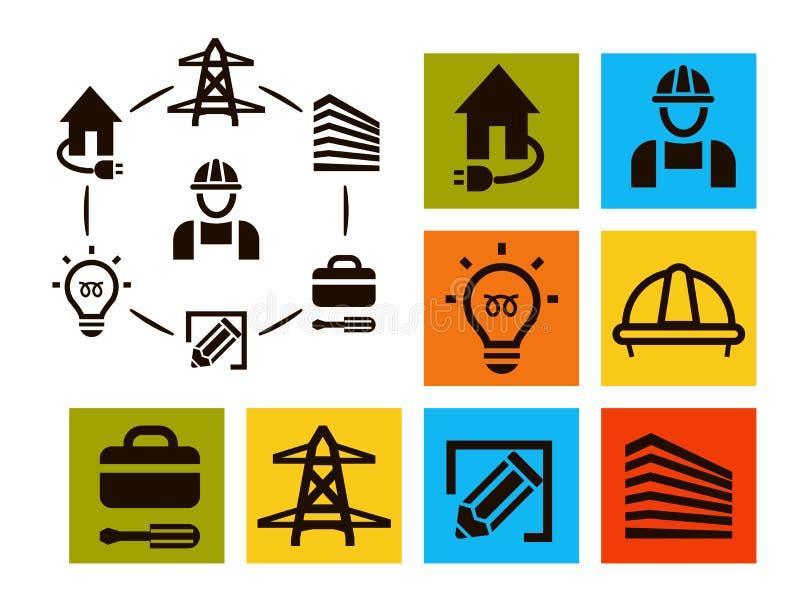 Geïsoleerde professionele geplaatste elektricienpictogrammen, materiaal en de inzameling van hulpmiddelenemblemen, de elementenve vector illustratie