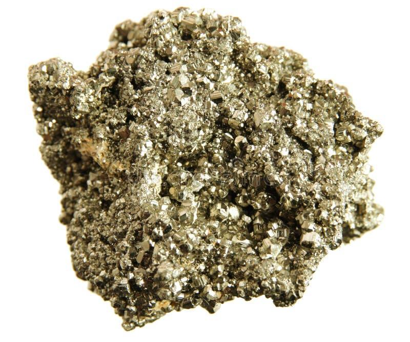 Geïsoleerde pyriet (het goud van de dwaas) stock foto