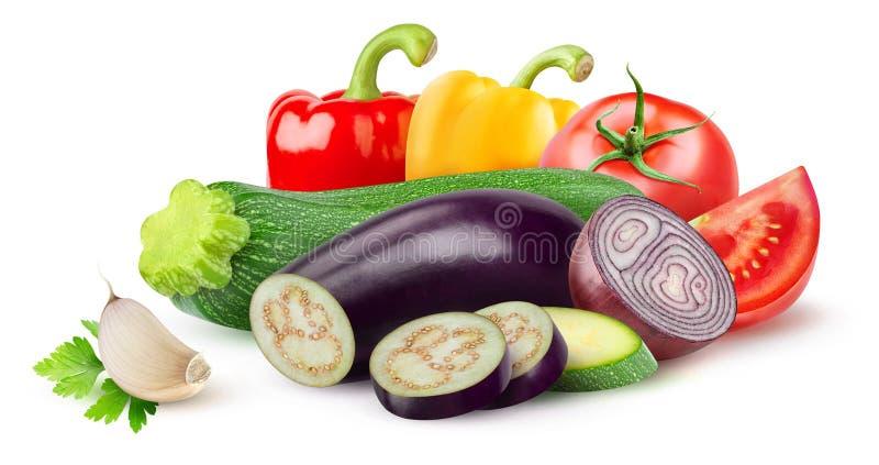 Geïsoleerde ratatouilleingrediënten stock afbeelding
