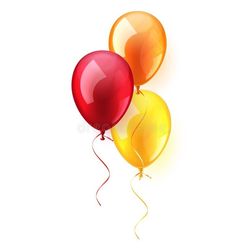 Geïsoleerde Realistische Kleurrijke Glanzende Vliegende Luchtballon De partij van de verjaardag Lint viering Huwelijk of verjaard royalty-vrije illustratie