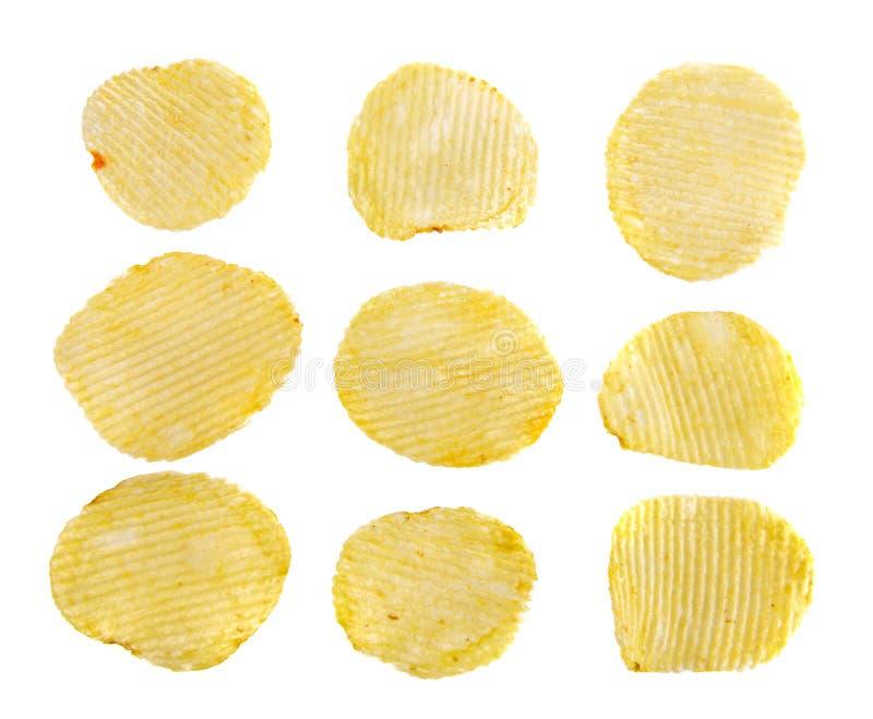 Geïsoleerde reeks chips stock afbeeldingen