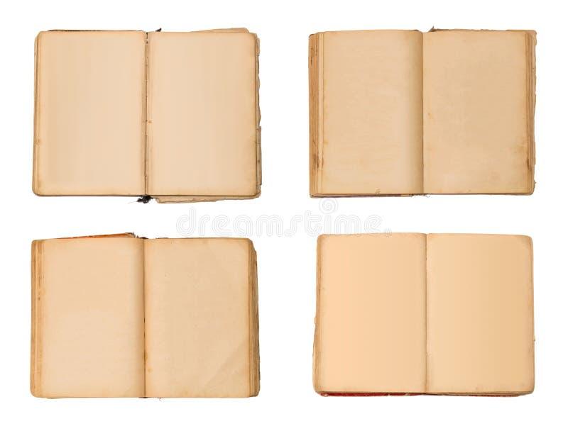 Geïsoleerde reeks open oude boeken, uitstekend boek met lege gele bevlekte pagina's royalty-vrije stock fotografie