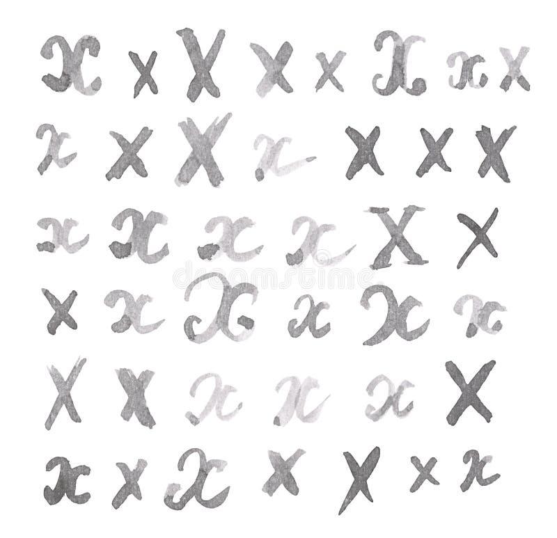 Geïsoleerde reeks veelvoudige X-brieven stock afbeeldingen