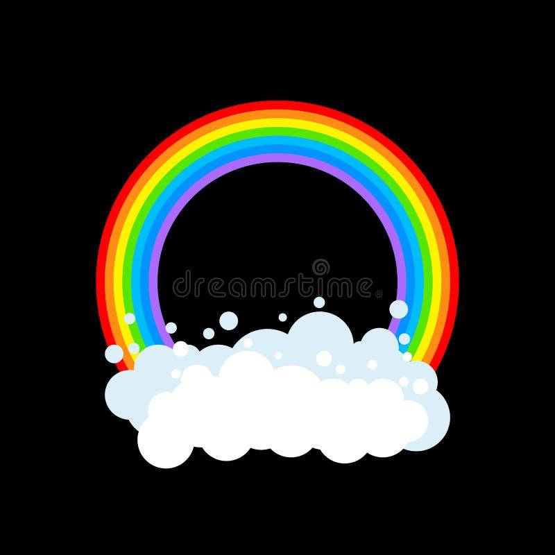 Geïsoleerde regenboog en wolk Regenbogencirkel Vector illustratie royalty-vrije illustratie