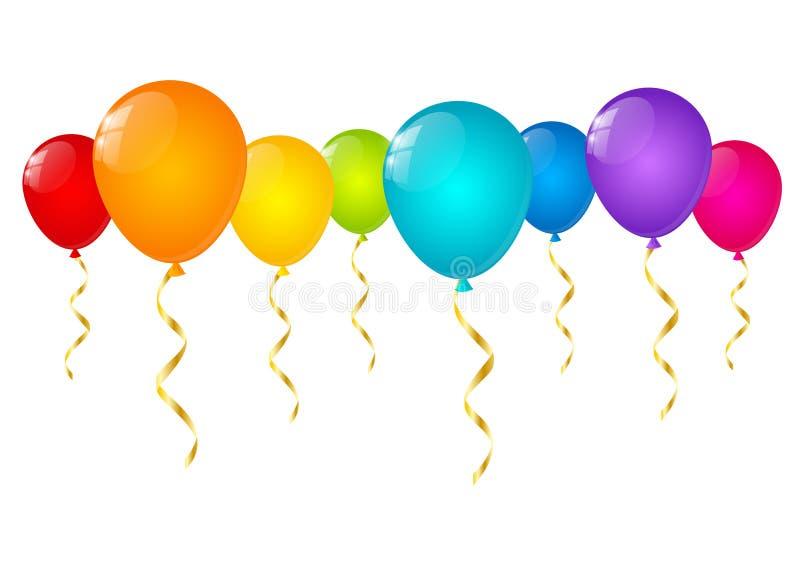Geïsoleerde regenboogballons stock illustratie