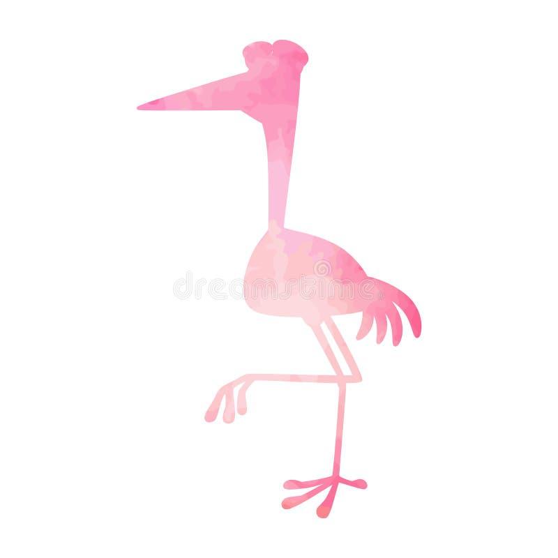 Geïsoleerde reiger roze waterverf Vector vector illustratie