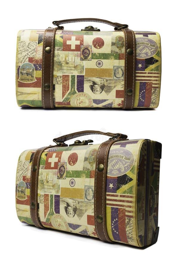 Geïsoleerde retro koffer voor het reizen royalty-vrije stock foto