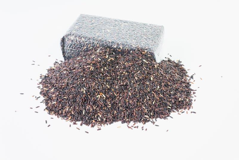 Geïsoleerde riceberry, de zak van de rijstbes op witte achtergrond royalty-vrije stock afbeeldingen