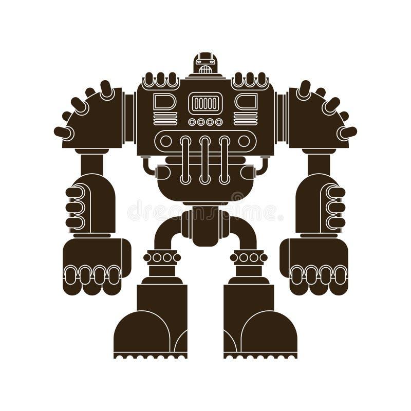 Geïsoleerde robot De strijderstoekomst van slagcyborg Vector Illustratio royalty-vrije illustratie