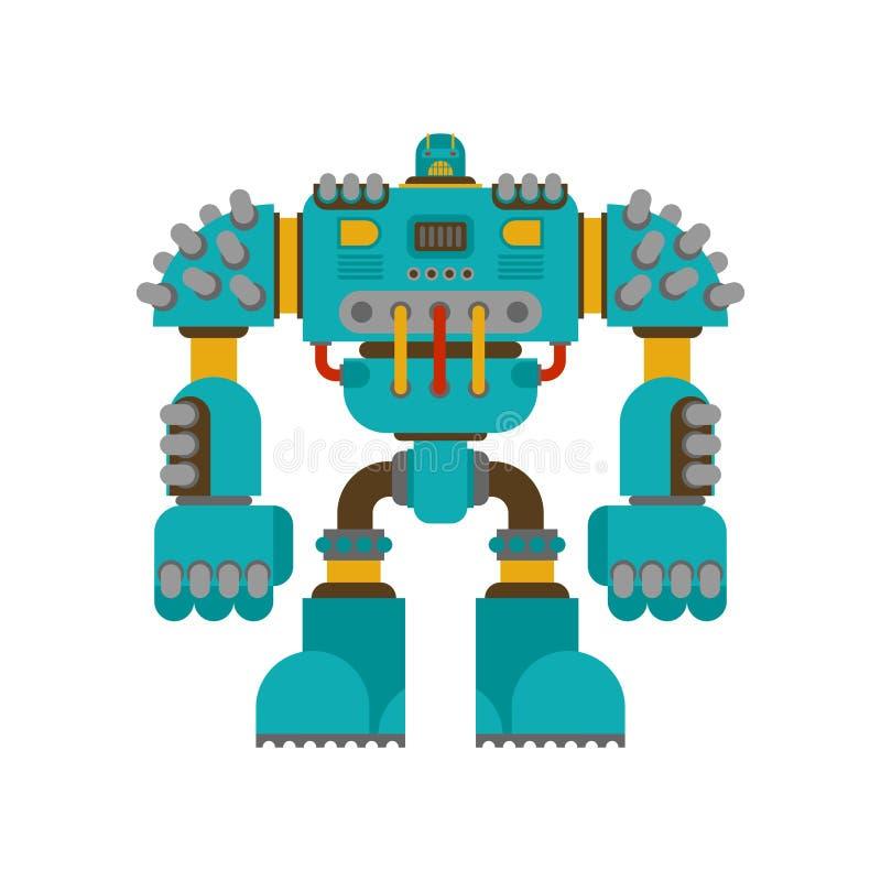 Geïsoleerde robotslag De toekomst van de Cyborgstrijder Vector Illustratio stock illustratie