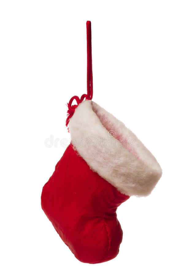 Geïsoleerde rode Kerstmiskous stock foto