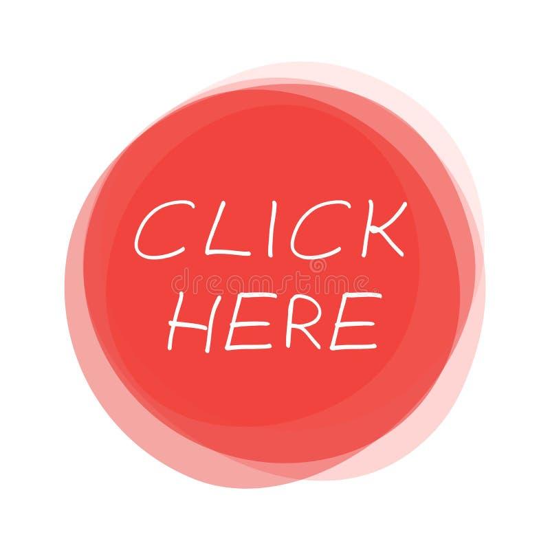 Geïsoleerde rode ronde Knoop: Klik hier met de hand geschreven royalty-vrije illustratie